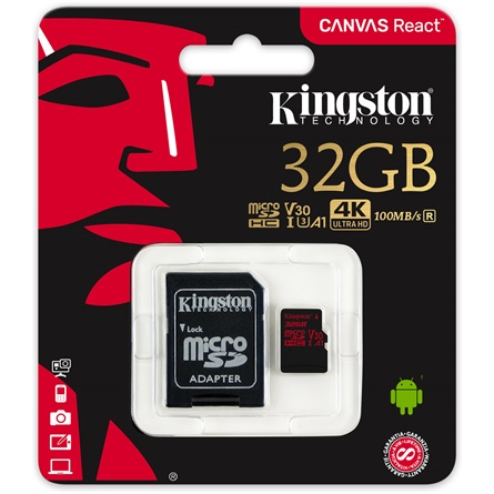 Kingston - Memória Kártya Foto - Kingston Canvas React 32Gb microSDHC Class 10 UHS-I U3 memóriakártya+adapter
