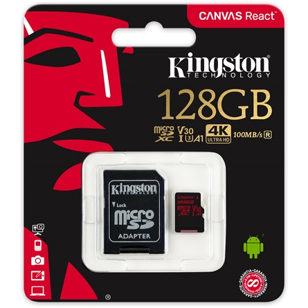 Kingston - Memória Kártya Foto - Kingston Canvas React 128Gb microSDXC Class 10 UHS-I U3 memóriakártya+adapter