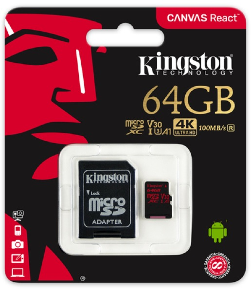 Kingston - Memória Kártya Foto - Kingston Canvas React 64Gb microSDXC Class 10 UHS-I U3 memóriakártya+adapter